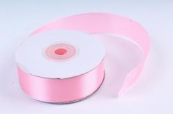 Атласная лента, в катушке (картон) гладкая, односторонняя, 25мм х 25м, Розовый М, К