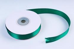 Атласная лента, в катушке (картон) гладкая, односторонняя, 15мм х 25м, Темно-зеленый М, К