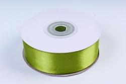 Атласная лента, в катушке (картон) гладкая, односторонняя, 25мм х 25м, Травяной М, К