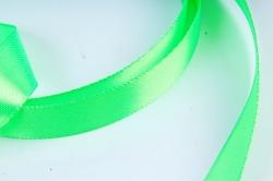 Атласная лента, в катушке (картон) гладкая, односторонняя, 15мм х 25м, Зеленый М, К