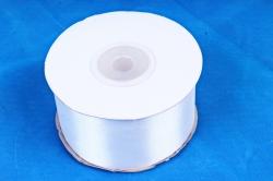 Атласная лента, в катушке (картон) гладкая, односторонняя, 38mm x 25m, Белый (М), К
