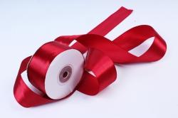 Атласная лента, в катушке (картон) гладкая, односторонняя, 38mm x 25m, Бордовый (М), К