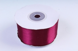 Атласная лента, в катушке (картон) гладкая, односторонняя, 38mm x 25m, Бургундский М, К