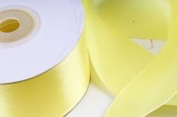 Атласная лента, в катушке (картон) гладкая, односторонняя, 38mm x 25m, Желтый М, К