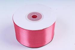 Атласная лента, в катушке (картон) гладкая, односторонняя, 38mm x 25m, Коралловый М, К