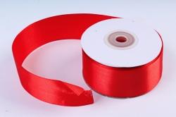 Атласная лента, в катушке (картон) гладкая, односторонняя, 38mm x 25m, Красный М, К
