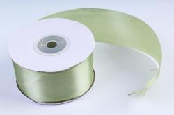 Атласная лента, в катушке (картон) гладкая, односторонняя, 38mm x 25m, Оливковый М, К