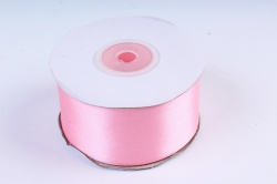 Атласная лента, в катушке (картон) гладкая, односторонняя, 38mm x 25m, Розовый М, К