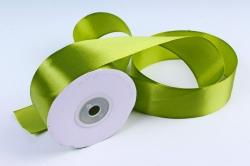 Атласная лента, в катушке (картон) гладкая, односторонняя, 38mm x 25m, Травяной М, К