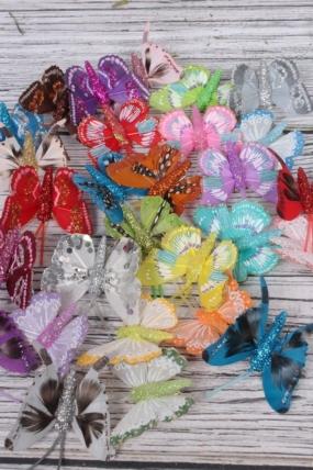 Декоративная искусственная флористическая - Бабочка 5см на прищепке (24 шт.) цвета в ассортименте