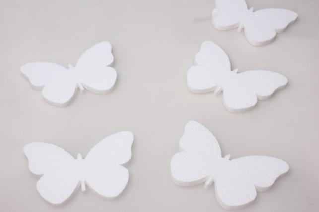 бабочки из пенопласта (вид 1) 15х8х1см (5шт в уп) 01-ба