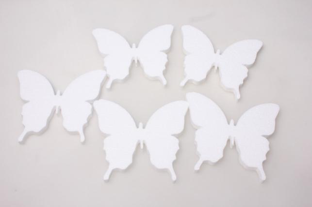 Бабочки из пенопласта вид 2 15х12х1см (5шт в уп) 02-Ба