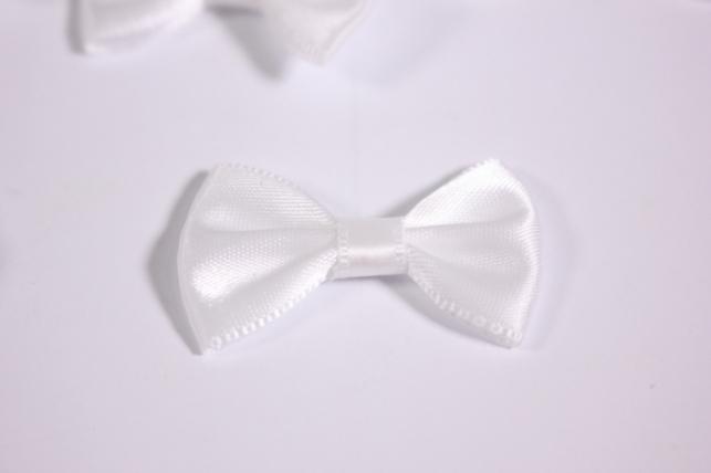 бант атласный 4х2,5см белый (10шт в уп)