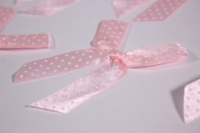 бант атласный 6х7см розовая точка (10шт в уп)