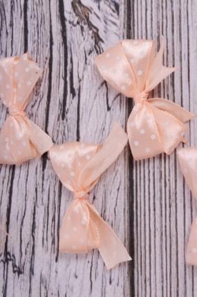 Бант атласный 5*2,5см персик в горошек (6шт в уп)