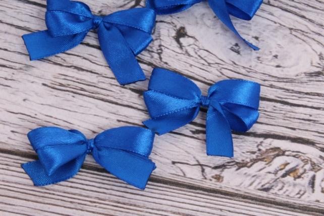 Бант атласный 5*2,5см синий (6шт в уп)
