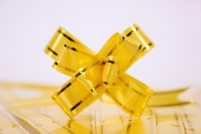 Бант-Бабочка 12х250мм золотая полоса - Желтый (10 шт)