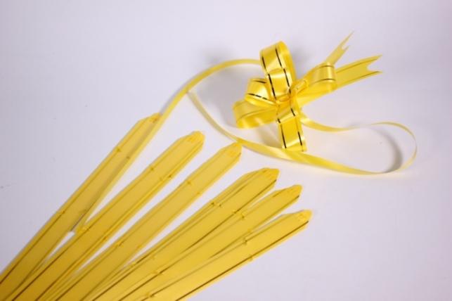 бант-бабочка 18*390мм золотая полоса желтый (10 шт.)