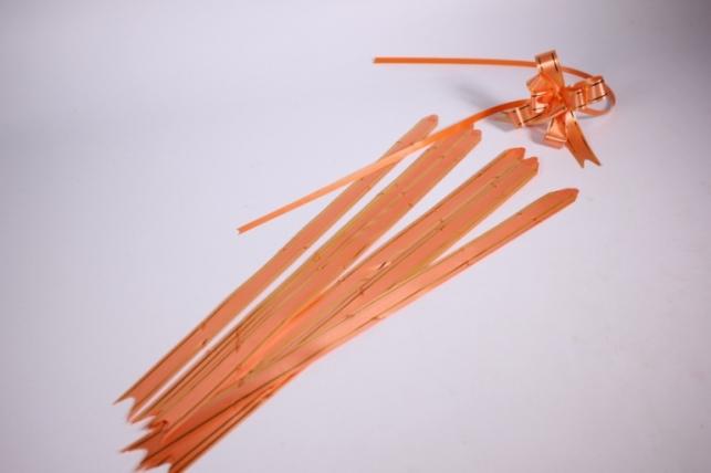 бант-бабочка 18*390мм золотая полоса оранжевый (10 шт.)