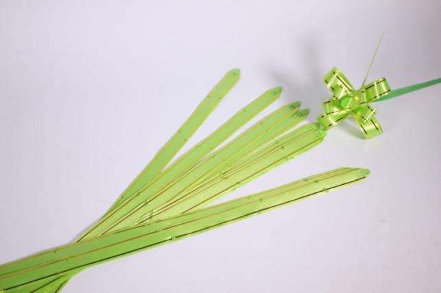 бант-бабочка 18*390мм золотая полоса салатовый (10 шт.)