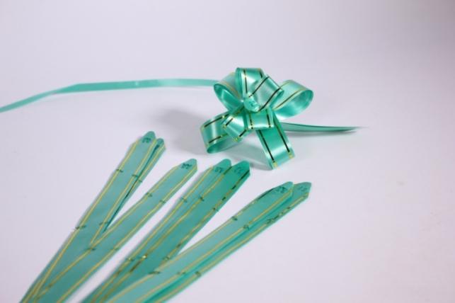 бант-бабочка 18*390мм золотая полоса зеленый (10 шт.)
