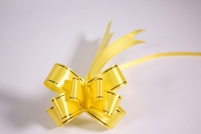 бант-бабочка 22х470мм - золотая полоса - жёлтый (10 шт.)