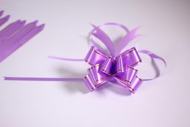 бант-бабочка 22х470мм - золотая полоса - сирень (10 шт.)