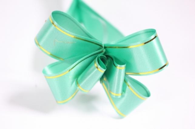 бант-бабочка 22х470мм - золотая полоса - зеленый (10 шт.)