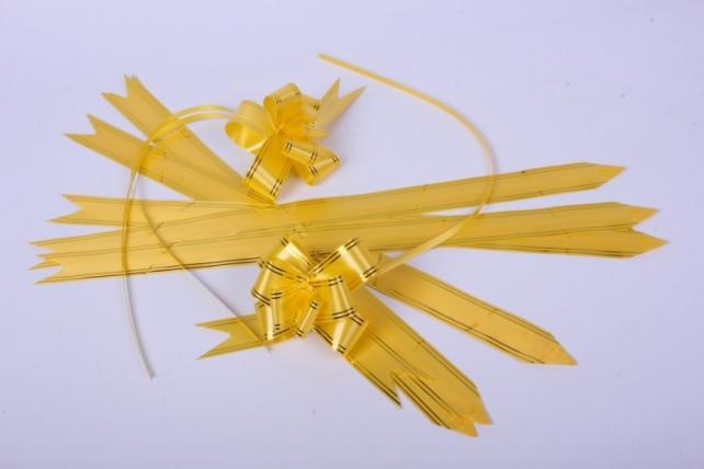 бант-бабочка 32*570мм золот. полоса желтый (10 шт.)