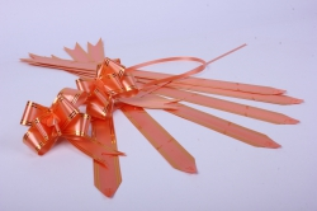 бант-бабочка 32*570мм золот. полоса коралл (10 шт.)