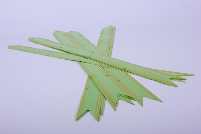 бант-бабочка 32*570мм золот. полоса салатовый (10 шт.)