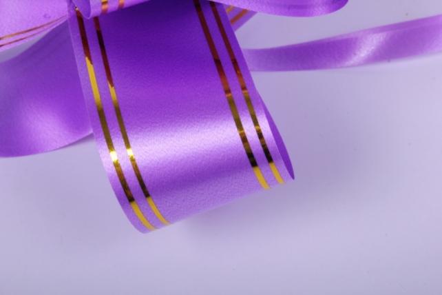 бант-бабочка 32*570мм золот. полоса сиреневый (10 шт.)