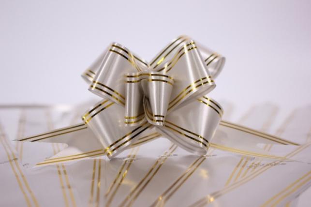 бант-бабочка 32х570мм золотая полоса - серебро (10 шт)
