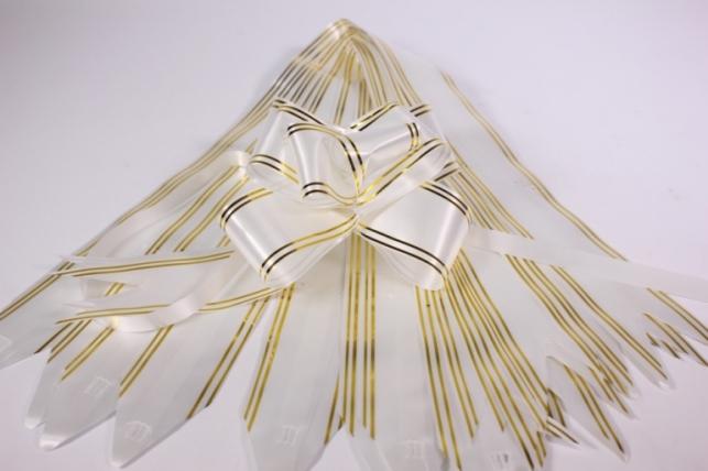 бант-бабочка 50*890мм золот. полоса белый (10 шт.)