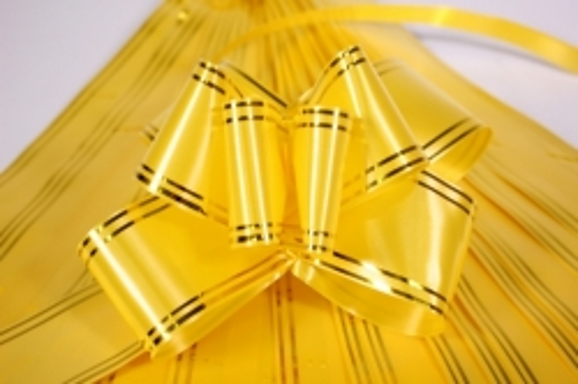 бант-бабочка 50*890мм золотая полоса желтый (10 шт.)
