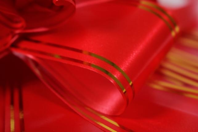 бант-бабочка 50*890мм золотая полоса красный (10 шт.)