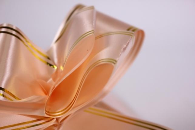 бант-бабочка 50*890мм золотая полоса персиковый (10 шт.)