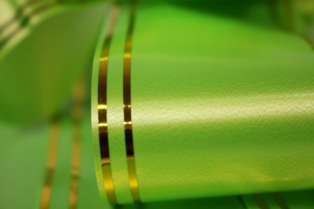 бант-бабочка 50*890мм золотая полоса салатовый (10 шт.)