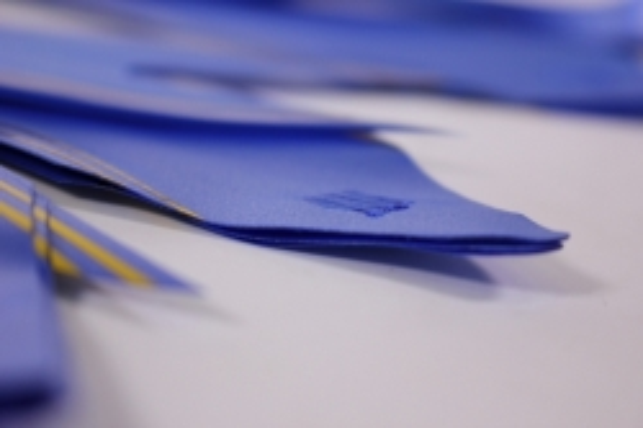 бант-бабочка 50*890мм золотая полоса синий (10 шт.)