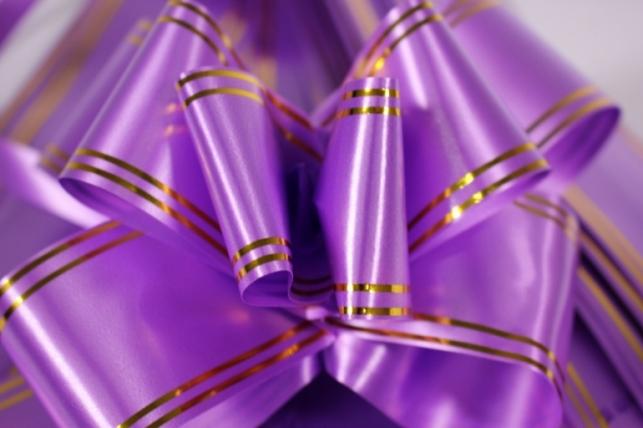 бант-бабочка 50*890мм золотая полоса сирень (10 шт.)