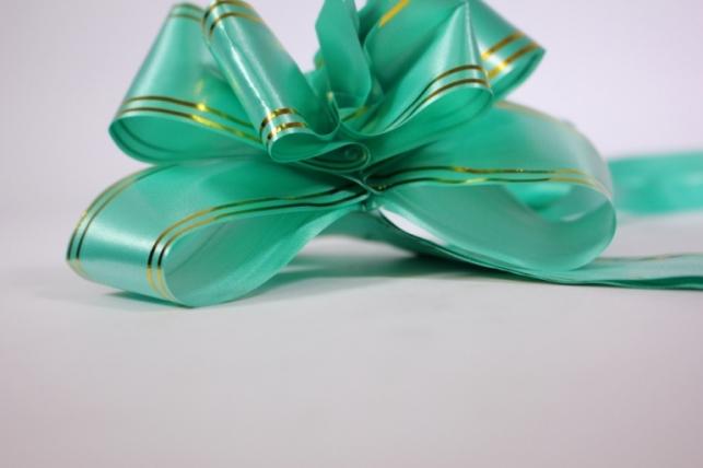 бант-бабочка 50*890мм золотая полоса зеленый (10 шт.)