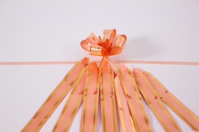 бант из ленты - бант-бабочка 12х250мм (золотая полоса) коралловый (10 шт.)