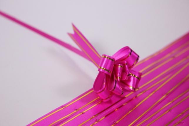 бант из ленты - бант-бабочка 12х250мм (золотая полоса) малиновый (10 шт.)