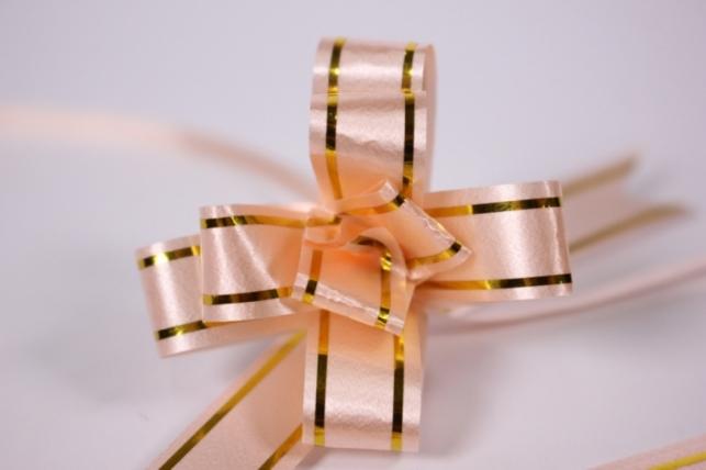 Бант из ленты - Бант-Бабочка 12х250мм (золотая полоса) Персик (10 шт.)