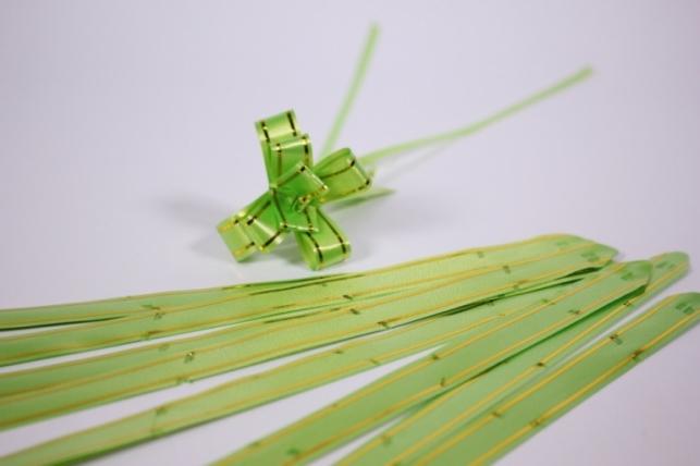 бант из ленты - бант-бабочка 12х250мм (золотая полоса) салатовый (10 шт.)