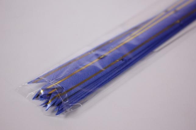 бант из ленты - бант-бабочка 12х250мм (золотая полоса) синий (10 шт.)