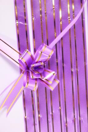бант из ленты - бант-бабочка 12х250мм (золотая полоса) сирень (10 шт.)