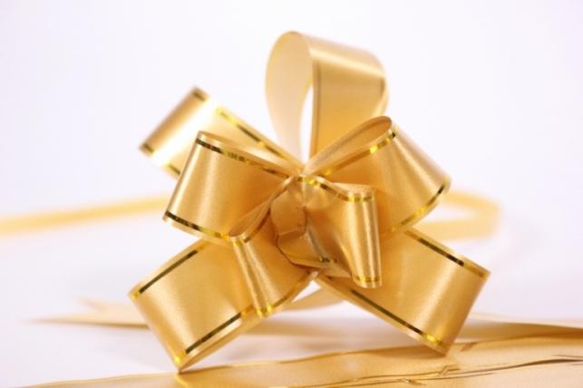 бант из ленты - бант-бабочка 18х390мм (золотая полоса) бронза (10 шт.)