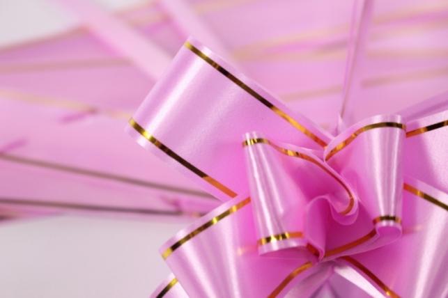 бант из ленты - бант-бабочка 18х390мм (золотая полоса) розовый (10 шт.)