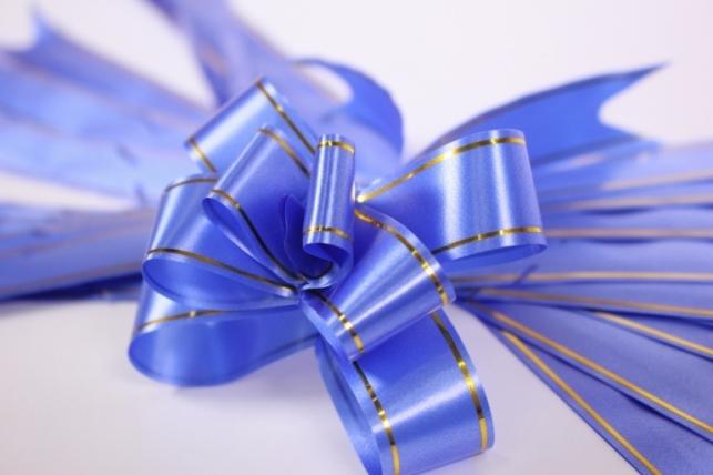 Бант из ленты - Бант-Бабочка 18х390мм (золотая полоса) Синий (10 шт.)